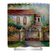 Garden Scene With Villa And Gate Shower Curtain by Regina Femrite