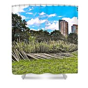 Garden With Bamboo Garden Fence In Battery Park In New York City-ny Shower Curtain by Ruth Hager