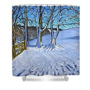 Gate And Trees Winter Dam Lane Derbyshire Shower Curtain by Andrew Macara