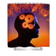 Gears Going In The Mind Shower Curtain by Don Hammond
