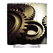 Gears Shower Curtain by Les Cunliffe