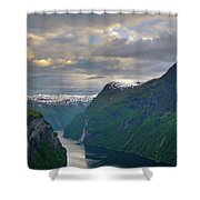 Geirangerfjord Sunset Shower Curtain by Benjamin Reed