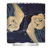 Gemini from Zodiac series Shower Curtain by Dorina  Costras
