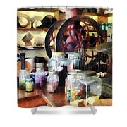 General Store With Candy Jars Shower Curtain by Susan Savad