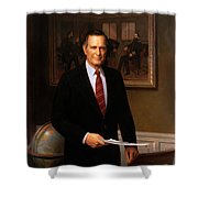 George HW Bush Presidential Portrait Shower Curtain by War Is Hell Store