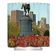 George Washington at the Boston Public Garden Shower Curtain by Juergen Roth