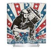 George Washington - Boombox Shower Curtain by Pixel Chimp