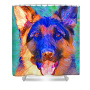 German Shepard - Painterly Shower Curtain by Wingsdomain Art and Photography