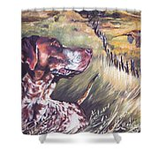 German Shorthaired Pointer And Pheasants Shower Curtain by Lee Ann Shepard