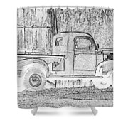 Ghost Of A Truck Shower Curtain by Jean Noren