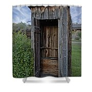 Ghost Town Outhouse - Montana Shower Curtain by Daniel Hagerman