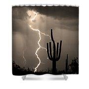 Giant Saguaro Cactus Lightning Strike Sepia  Shower Curtain by James BO  Insogna