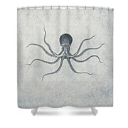 Giant Squid - Nautical Design Shower Curtain by World Art Prints And Designs