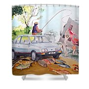 Gift Listen With Music Of The Description Box Shower Curtain by Lazaro Hurtado
