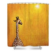 GIRAFFE LOOKING BACK Shower Curtain by Jerome Stumphauzer