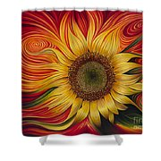 Girasol Dinamico Shower Curtain by Ricardo Chavez-Mendez
