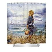 Girl And The Ocean Shower Curtain by Irina Sztukowski