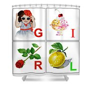 GIRL Art Alphabet for Kids Room Shower Curtain by Irina Sztukowski