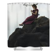 Girl On A Rock Shower Curtain by Joana Kruse