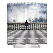 Girl On A Terrace Shower Curtain by Joana Kruse