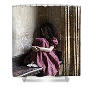 Girl On Pew Shower Curtain by Joana Kruse