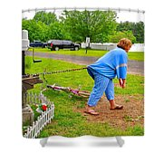 Girl Pretending to be a Horse Pulling a Trailer  Shower Curtain by Ruth Hager