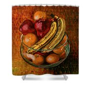 Glass Bowl Of Fruit Shower Curtain by Sean Connolly