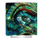 Glass Macro - Blue Green Swirls Shower Curtain by David Patterson