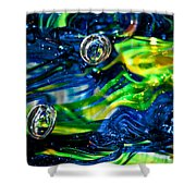 Glass Macro - Seahawks Blue And Green -13e4 Shower Curtain by David Patterson