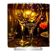 Glasses Aglow Shower Curtain by Christopher Holmes