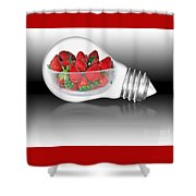 Global Strawberries Shower Curtain by Kaye Menner