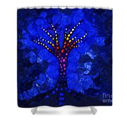 Glow Tree Blue Shower Curtain by Pixel Chimp