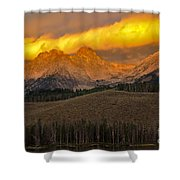 Glowing Sawtooth Mountains Shower Curtain by Robert Bales