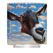 Goat A La Magritte Shower Curtain by Jurek Zamoyski