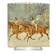Going Out In A Snowstorm Shower Curtain by Henry Thomas Alken