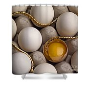 Gold And Eggs Shower Curtain by J L Woody Wooden