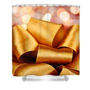 Gold Gift Bow With Festive Lights Shower Curtain by Elena Elisseeva