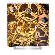 Gold Pocket Watch Gears Shower Curtain by Garry Gay