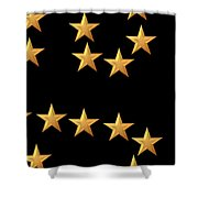 Gold Stars Abstract Triptych part 3 Shower Curtain by Rose Santuci-Sofranko