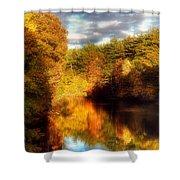 Golden Autumn Shower Curtain by Joann Vitali