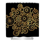 Golden Circles Black Shower Curtain by Frank Tschakert