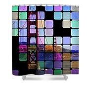 Golden Gate Bridge Modern Art Shower Curtain by Florian Rodarte