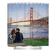 Golden Gate Bridge San Francisco - Two Love Birds Shower Curtain by Irina Sztukowski
