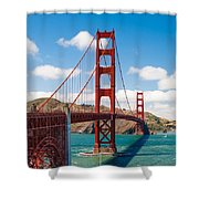 Golden Gate Bridge Shower Curtain by Sarit Sotangkur