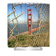 Golden Gate Through The Fence Shower Curtain by Scott Norris