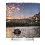 Golden Gunsight Peak Shower Curtain by Robert Bales