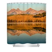 Golden Mountains  Reflection Shower Curtain by Robert Bales