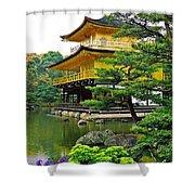 Golden Pavilion - Kyoto Shower Curtain by Juergen Weiss