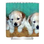 Golden Puppies Shower Curtain by Michelle Calkins