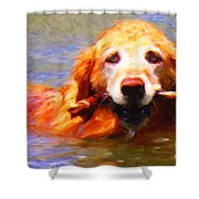 Golden Retriever - Painterly Shower Curtain by Wingsdomain Art and Photography